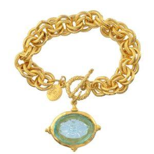 Aqua Venetian Glass Bee Intaglio Chain Bracelet, Gold Plated 8″