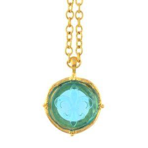 Aqua Venetian Glass Fleur De Lis Intaglio on Gold Plated Chain Necklace, 30″