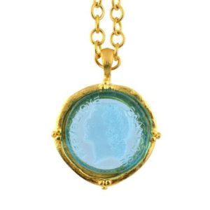 Blue Glass Coin Pendant Necklace, Gold Plated Textured Chain, 30
