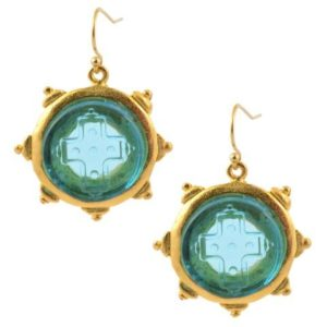 Gold Plated Blue Glass Etched Cross Dangle Earrings
