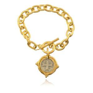 Italian Intaglio Cross Chain Bracelet, Gold/Silver Plated 8″