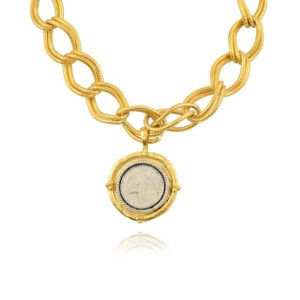 Italian Coin Pendant Necklace, Gold Plated Interlocking Chain Necklace, 14+3″