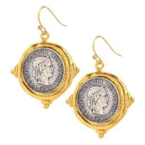 Silver Plated French Coin Dangle Earrings,  Gold Plated Setting