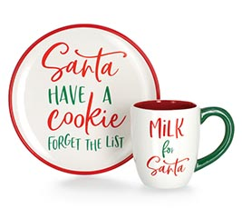 xmas santa cookie plate and mug